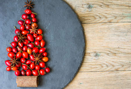 rose tree: Christmas tree with ripe rose hips and spices like anise star and cinnamon stick on the rustic background