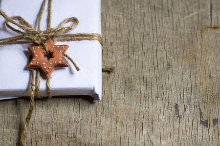 vintage leaf: Presents in rustic style for Christmas seasonal holiday