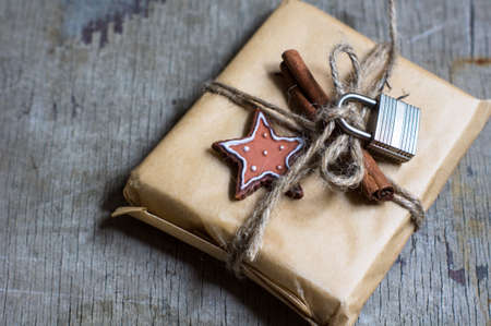 personal ornaments: Presents in rustic style for Christmas seasonal holiday