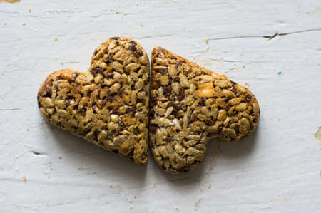 calorie rich food: Eastern sweets: heart shaped baklava with the nuts, closeup of eastern sweet dessert