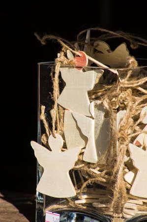 angel tree: Wooden angel handmade decorations for Christmas tree Stock Photo