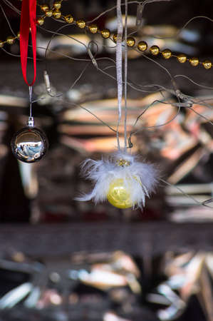wooden handmade: Wooden handmade decorations for Christmas tree Stock Photo