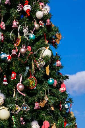rustaveli: Christmas tree with lights on the main avenue of Tbilisi city, Rustaveli ave., in Georgia