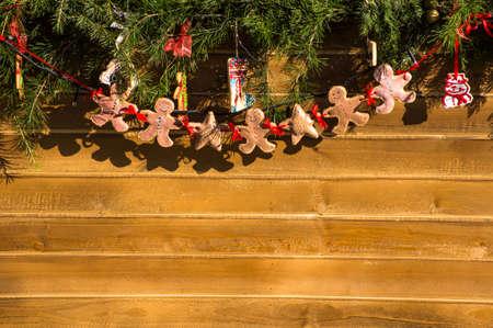 gingerbread man: Christmas tree decorations - handmade gingerbread man Stock Photo