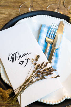 table setting: Table setting in rustic style with Menu