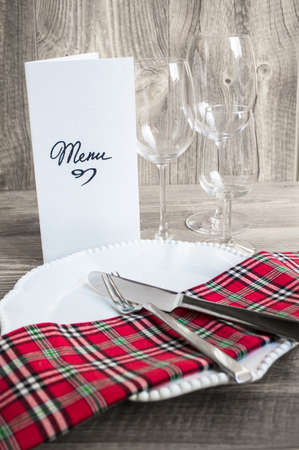 menu vintage: Table setting in rustic style with Menu