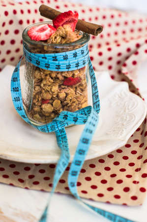 loosing: Healthy breakfast granola with strawberry for loosing weight Stock Photo