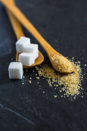 refined: different types of sugar - brown, white and refined sugar