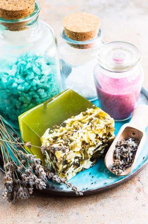 lavanda: Spa concept with handmade herb soap and sea salt