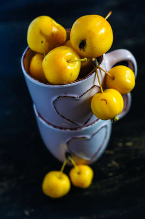 rennet: Autumnal concept with crab apples on rustic background