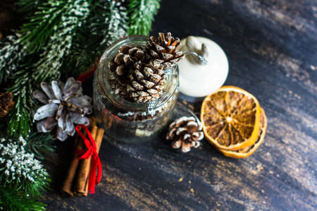 cone shaped: Christmas cookies pine cone shaped with festive decoration