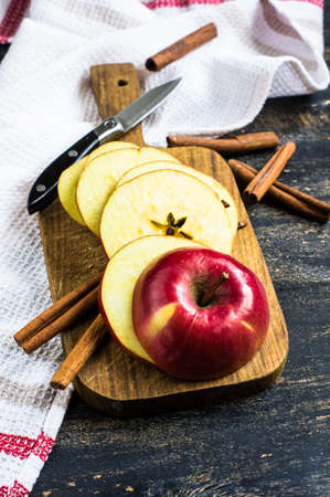 Fresh organic apple on dark wooden table with copyspace