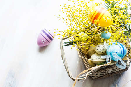Easter festive frame with bright yellow mimosa (acacia) flowers and easter eggs a on wooden background