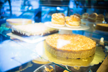 Cakes in a bakery are ready to be bought by someone Stock Photo