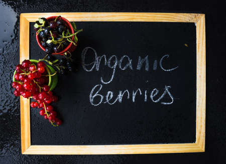 Ripe organic currant berries  on dark wooden table with copyspace as a organic food concept