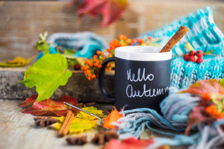 Autumnal concept with cup of tea with lemon, cinnamon stick and anise star on rustic wooden  background full of bright yellow leaves Stock Photo