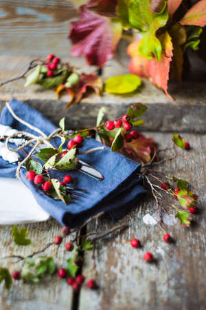 Autumnal table setting with bright red and orange wild berries on rustic background
