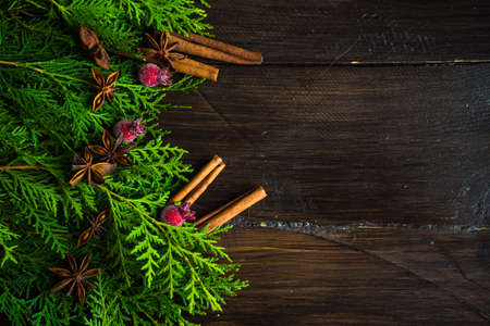 Christmas holiday flat lay with Christmas fir tree and cones on rustic background