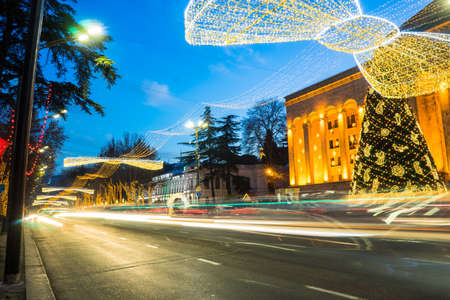 Georgia - Tbilisi. Christmas and New 2018 year  illumination on the street of historical centre of Tbilisi, capita city of Republic of Georgia in Caucasus region. 28.12.1017 Stock Photo