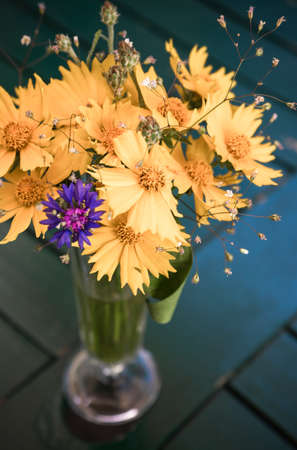 Beautifu coreopsis flowers in bouquet on old table outdoor