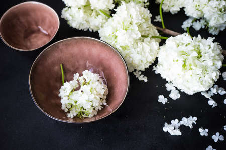 Summer table setting with white  Viburnum opulus Roseum flowers on rustic background
