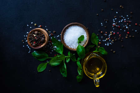 Cooking concept with spices, oil and basil herb on dark background with copy space Stockfoto