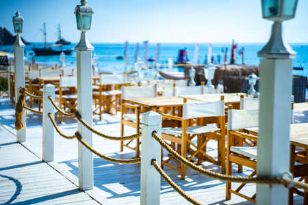 Beach located restaurant with marine themed table setting