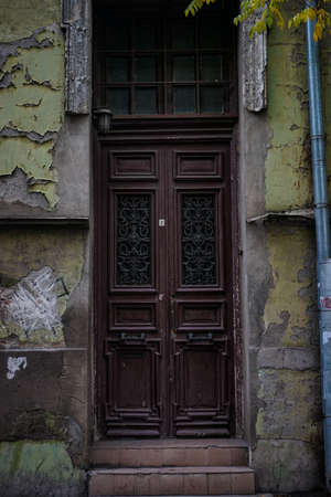 Old door with forged iron decor in Tbilisi houses of 18-19 centuries, Republic of Georgia