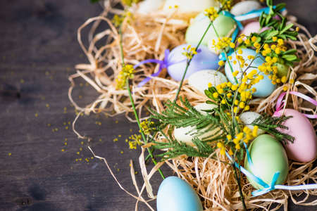 Easter holiday natural composition with first spring flowers like tricolor violas and primerose , colored eggs