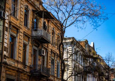 Facade of Tbilisis houses of 18-19 centuries in Art Nouveau, Republic of Georgia