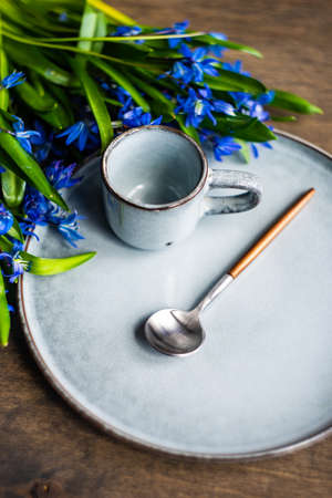 Spring table setting with blue scilla siberica flowers on concrete background with copy space 版權商用圖片