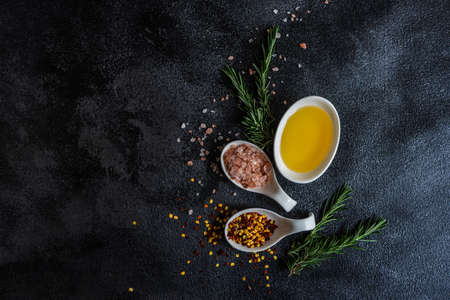 Spice cooking concept with sea salt and hot chili pepper on dark background with copy space
