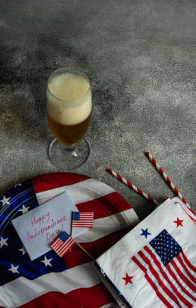 USA Independence day or 4th July table setting concept with copy space