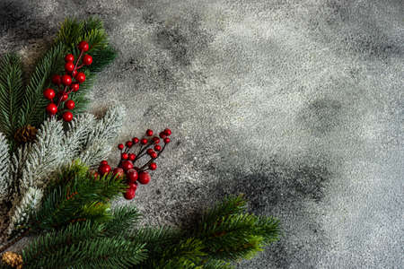 Christmas frame concept with fir tree on rusty stone background with copy space Reklamní fotografie