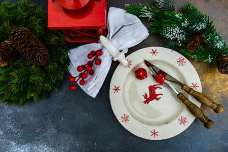 Cutlery set for festive Christmas dinner on concrete background with copy space Stock Photo