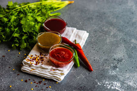 Traditional georgian sauces like tomato satsebeli, yellow and red tkemali with ingredients on stone background with copy space