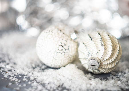 Christmas holiday concept with balls on bright background with copy space Imagens