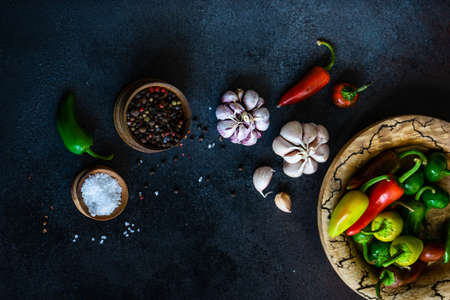 Cooking concept with paprika peppers, pepper spice, garlic heads and sea salt on stone background with copy space 版權商用圖片