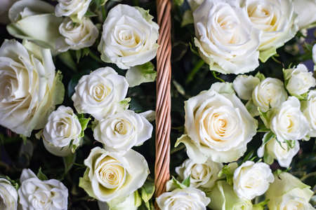 Variety of white roses in beautiful bouquet