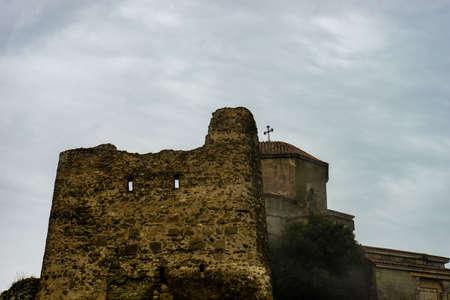 Ancient Jvari monastery on the mount top over old georgian capital city Mtskheta, Georgia