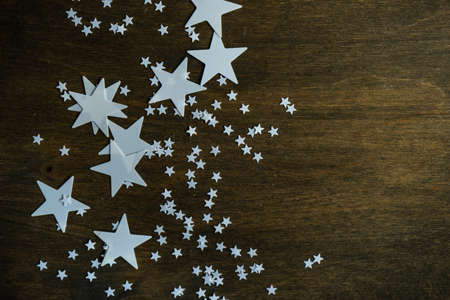 Christmas background with variety of white stars 写真素材