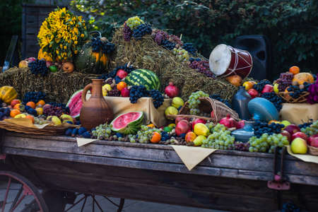 Autumnal fruits and vegetables at the harvest  holiday during Tbilisisoba celebration in Tbilisi, Georgia