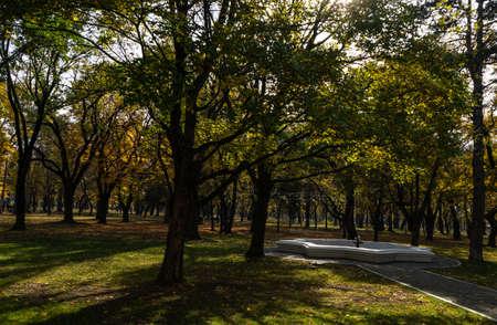 Park around Chateau Mukhrani palace in autumn season, travel in Georgia