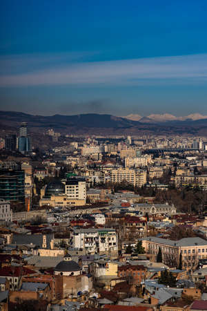 Cityscape of old part of Tbilisi's downtown as a travel card concept