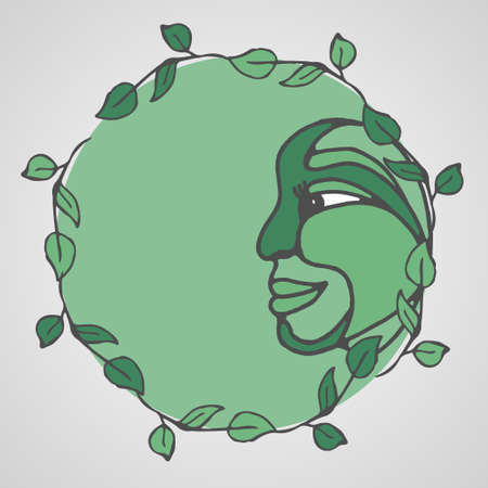 Round vector frame with abstract images of the face and leaves of the plant. vanguard. Handmade. There is a place for your text. It can be used for packaging, invitations, greeting cards, etc. Illustration