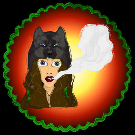 Vector illustration of a girl in the hat of a wolf. A cloud of smoke from his mouth. The effect of the sketch. You can use the logo, tattoo, web resources, etc.