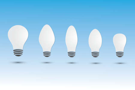 A set of white light bulbs with different size and shape on blue background.