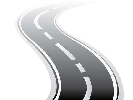 An snowy asphalt winding street road for long distance in winter season vector