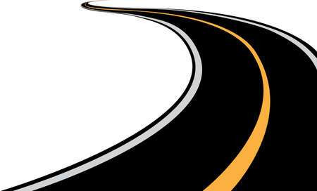 An asphalt winding highway road for long distance on white background vector Ilustração