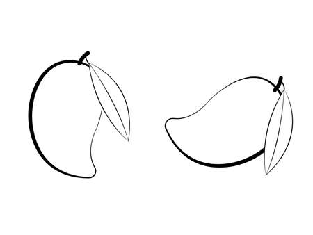 Black and white mango with leaf on white page vector Иллюстрация